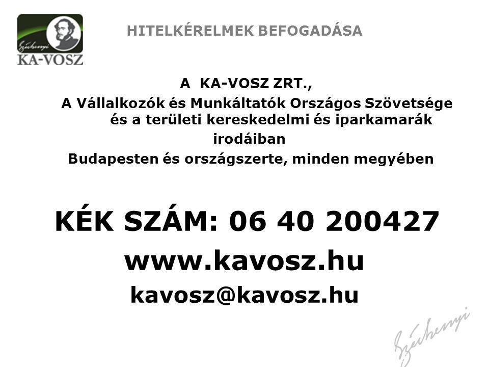 HITELKÉRELMEK BEFOGADÁSA A KA-VOSZ ZRT., A Vállalkozók és Munkáltatók Országos Szövetsége és a területi kereskedelmi és iparkamarák irodáiban Budapest