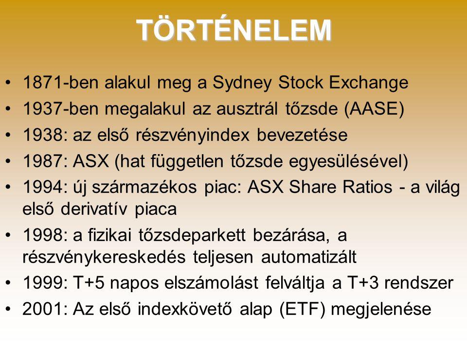 TÖRTÉNELEM •1871-ben alakul meg a Sydney Stock Exchange •1937-ben megalakul az ausztrál tőzsde (AASE) •1938: az első részvényindex bevezetése •1987: ASX (hat független tőzsde egyesülésével) •1994: új származékos piac: ASX Share Ratios - a világ első derivatív piaca •1998: a fizikai tőzsdeparkett bezárása, a részvénykereskedés teljesen automatizált •1999: T+5 napos elszámolást felváltja a T+3 rendszer •2001: Az első indexkövető alap (ETF) megjelenése