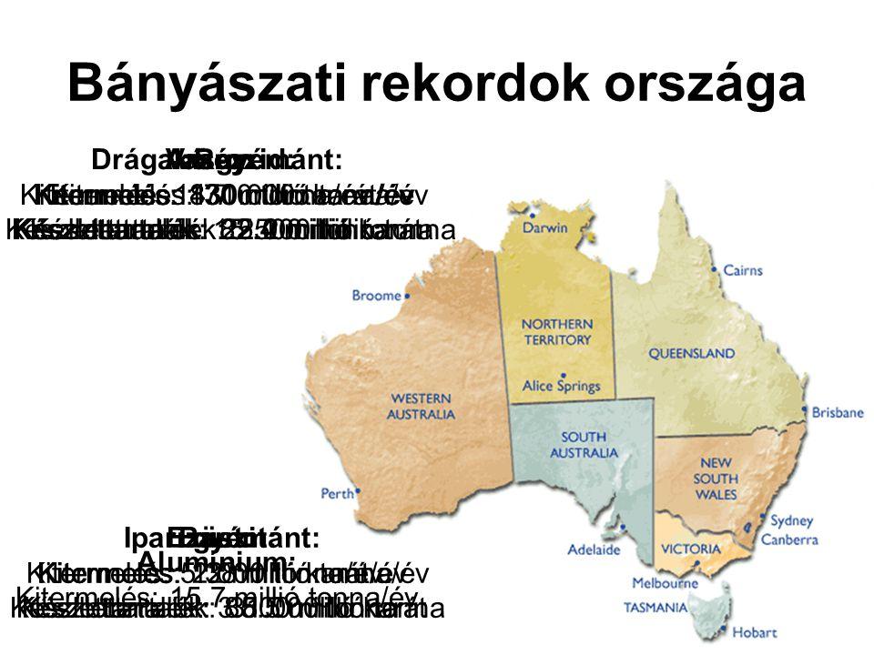 Bányászati rekordok országa Arany: Kitermelés: 300 tonna/év Készlettartalék: 5.000 tonna Ezüst: Kitermelés: 2.000 tonna/év Készlettartalék: 31.000 tonna Drágakő gyémánt: Kitermelés: 14.7 millió karát/év Készlettartalék: 82.4 millió karát Ipari gyémánt: Kitermelés: 12 millió karát/év Készlettartalék: 85.5 millió karát Vas-oxid: Kitermelés: 171 millió tonna/év Készlettartalék: 15.500 millió tonna Bauxit: Kitermelés: 5.38 millió tonna/év Készlettartalék: 3.800 millió tonna Réz: Kitermelés: 830.000 tonna/év Készlettartalék: 22.2 millió tonna Alumínium: Kitermelés: 15.7 millió tonna/év