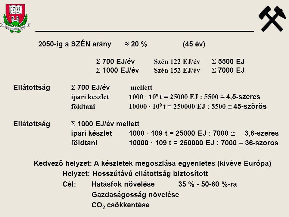 2050-ig a SZÉN arány≈ 20 % (45 év)  700 EJ/év Szén 122 EJ/év  5500 EJ  1000 EJ/év Szén 152 EJ/év  7000 EJ Ellátottság  700 EJ/év mellett ipari ké