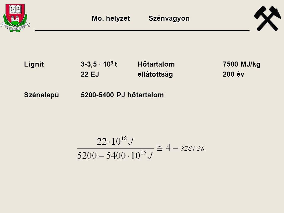Lignit3-3,5 · 10 9 tHőtartalom7500 MJ/kg 22 EJellátottság200 év Szénalapú5200-5400 PJ hőtartalom