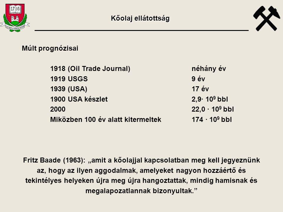 Múlt prognózisai 1918 (Oil Trade Journal)néhány év 1919 USGS9 év 1939 (USA)17 év 1900 USA készlet2,9· 10 9 bbl 2000 22,0 · 10 9 bbl Miközben 100 év al