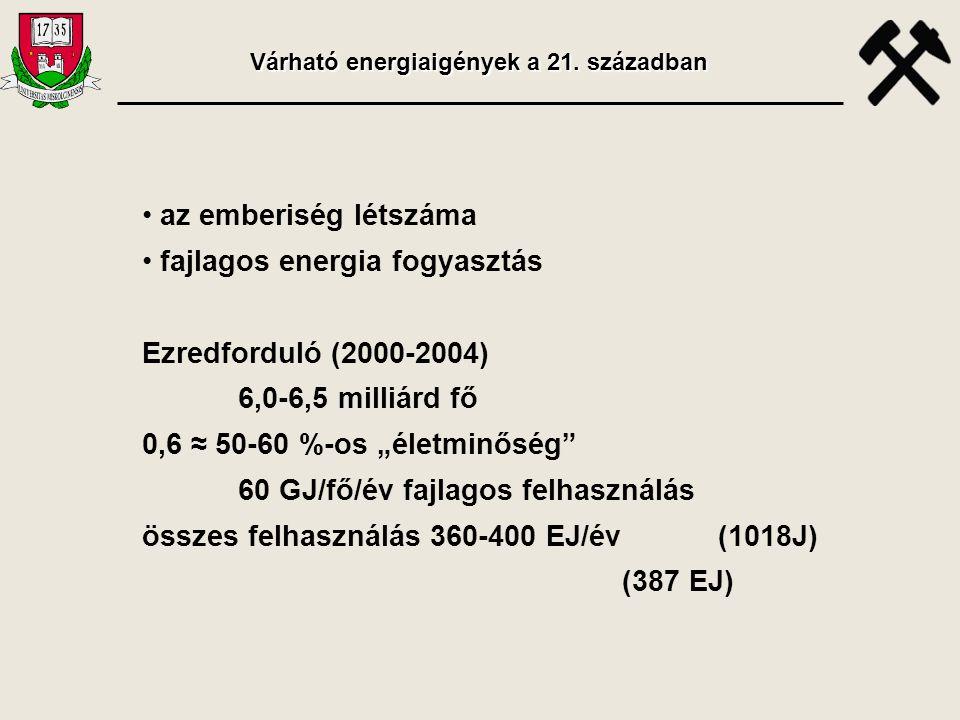 """• az emberiség létszáma • fajlagos energia fogyasztás Ezredforduló (2000-2004) 6,0-6,5 milliárd fő 0,6 ≈ 50-60 %-os """"életminőség"""" 60 GJ/fő/év fajlagos"""
