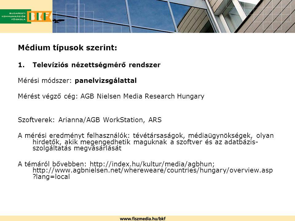 Médium típusok szerint: 1.Televíziós nézettségmérő rendszer Mérési módszer: panelvizsgálattal Mérést végző cég: AGB Nielsen Media Research Hungary Szo