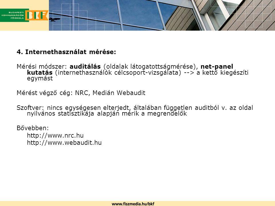4. Internethasználat mérése: Mérési módszer: auditálás (oldalak látogatottságmérése), net-panel kutatás (internethasználók célcsoport-vizsgálata) -->