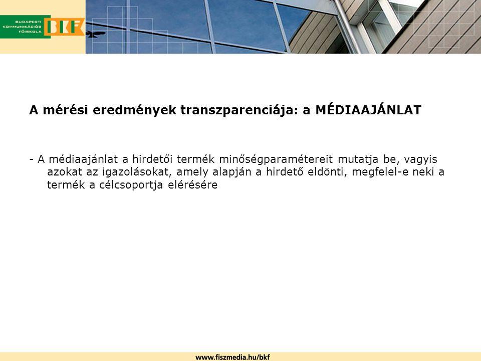 A mérési eredmények transzparenciája: a MÉDIAAJÁNLAT - A médiaajánlat a hirdetői termék minőségparamétereit mutatja be, vagyis azokat az igazolásokat,