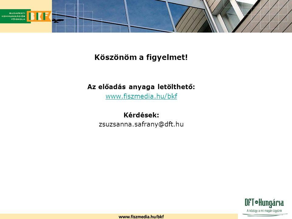 Köszönöm a figyelmet! Az előadás anyaga letölthető: www.fiszmedia.hu/bkf Kérdések: zsuzsanna.safrany@dft.hu