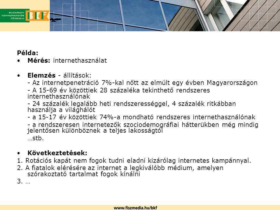 I.Szekunder adatgyűjtés - megvásárolt, vagy - ingyenesen hozzáférhető tanulmányok, adatok Pl.: Internet, szaklapok - statisztikák, célcsoport mérése, stb.: www.ksh.hu; www.fn.hu - auditálási adatok (nem teljes) print: MATESZ (www.matesz.hu) televízió: MédiaInfó (www.mediainfo.hu) online: Medián WebAudit (www.webaudit.hu) - médiahasználati szokások publikációi print: www.szondaipsos.hu; www.gfk.hu; www.kreativ.hu televízió, rádió: www.agbnielsen.net; www.szondaipsos.hu online: www.nrc.hu - piackutató cégek adatbázisa: http://www.pmsz.org/?page=tagsag - konkurens médiumok ajánlatai: egyik legfontosabb szekunder adat, hogy a konkurencia milyen üzenetekkel bombázza a hirdetőket.