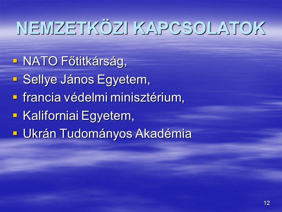 12 NEMZETKÖZI KAPCSOLATOK  NATO Főtitkárság,  Sellye János Egyetem,  francia védelmi minisztérium,  Kaliforniai Egyetem,  Ukrán Tudományos Akadémia
