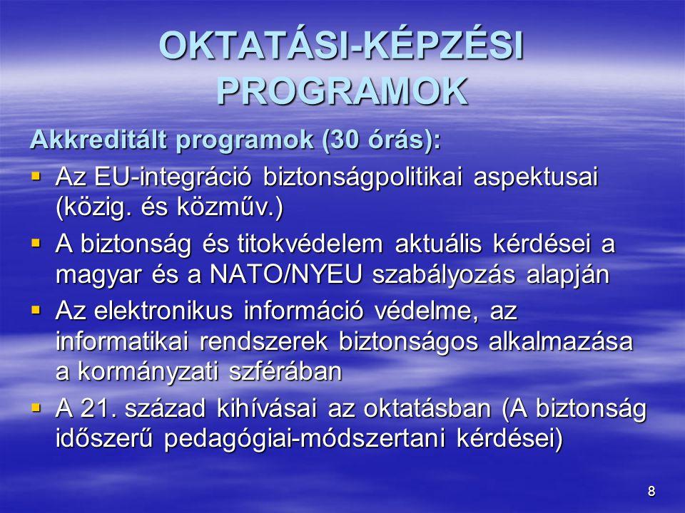 8 OKTATÁSI-KÉPZÉSI PROGRAMOK Akkreditált programok (30 órás):  Az EU-integráció biztonságpolitikai aspektusai (közig.