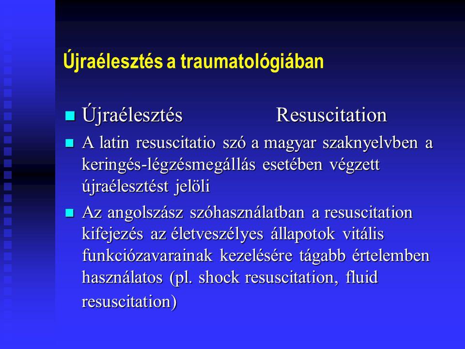 Újraélesztés a traumatológiában Újraélesztés Resuscitation Újraélesztés Resuscitation Prehospital Trauma Care Prehospital Trauma Care E Soreide CM Grande eds.