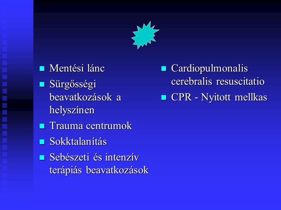 Sérültek újraélesztésének kimenetele  Field triage of the pulseless trauma patient Battistella FD et al Arch Surg 1999 Jul;134(7):742-5 Battistella FD et al Arch Surg 1999 Jul;134(7):742-5 Sérüléshez társuló keringés-légzésmegállás n604 (5 év) Sérüléshez társuló keringés-légzésmegállás n604 (5 év) Áthatoló n300, tompa 304, transzport idő 11 +/- 6perc resuscitációs throracotmia 300, egyéb műtétek 160 Túlélő n16,súlyos neurológiai fogyatékosság n7 Túlélő n16,súlyos neurológiai fogyatékosság n7 Konklúzió: a tapintható pulzus nélküli sérülteket asystoliával vagy 40/min alatti elektromos aktivitással a baleset helyszínén halottnak kel nyilvánítani !