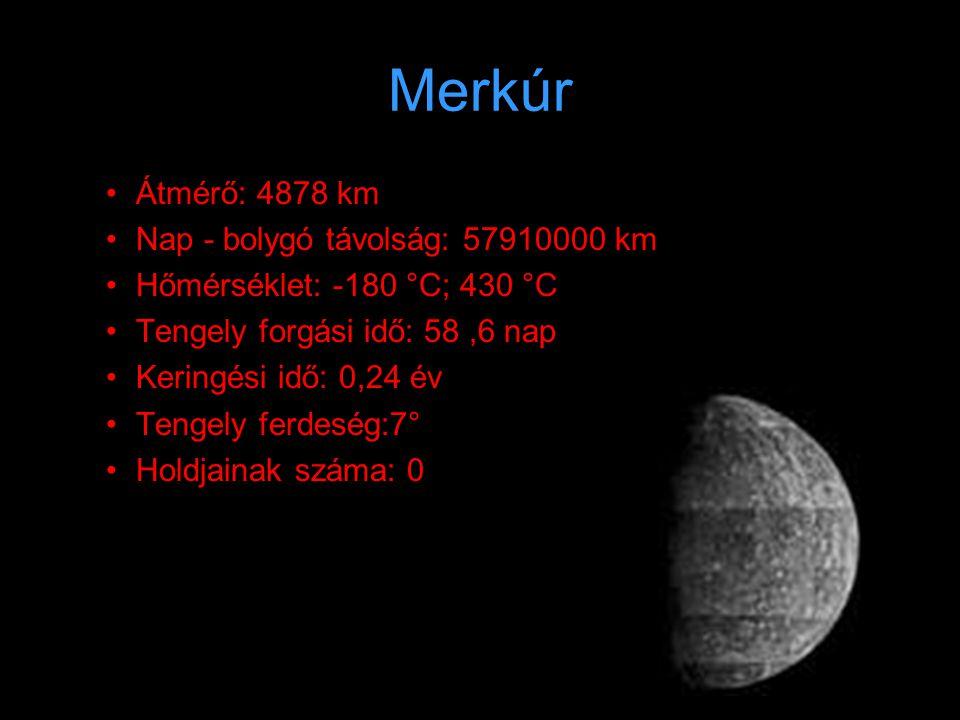 Vénusz •Á•Átmérő: 12104 km •N•Nap - bolygó távolság: 108200000 km •H•Hőmérséklet: 380 °C; 487 °C •T•Tengely forgási idő: 243 nap •K•Keringési idő: 0,62 év •T•Tengely ferdeség: 12,5° •H•Holdjainak száma: 0