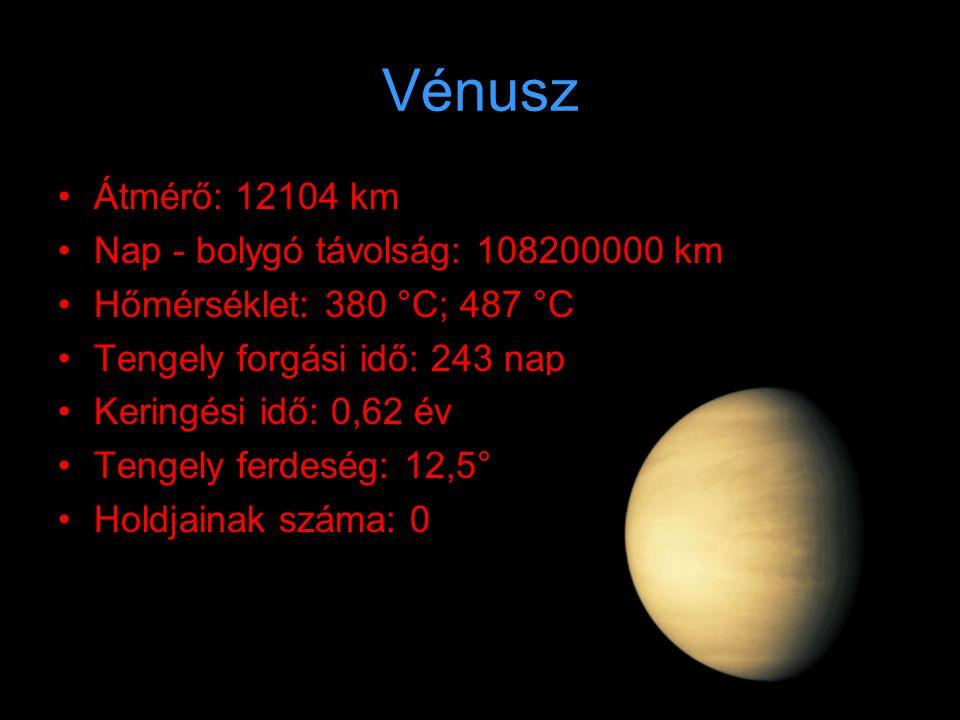 Föld •Á•Átmérő: 12756 km •N•Nap - bolygó távolság: 149600000 km •H•Hőmérséklet: -72 °C; 56 °C •T•Tengely forgási idő: 24 óra •K•Keringési idő: 1 év •T•Tengely ferdeség: 23,5° •H•Holdjainak száma: 1