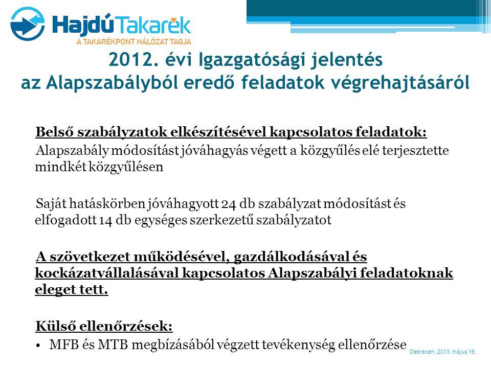 Debrecen, 2013. május 16. Belső szabályzatok elkészítésével kapcsolatos feladatok: Alapszabály módosítást jóváhagyás végett a közgyűlés elé terjesztet