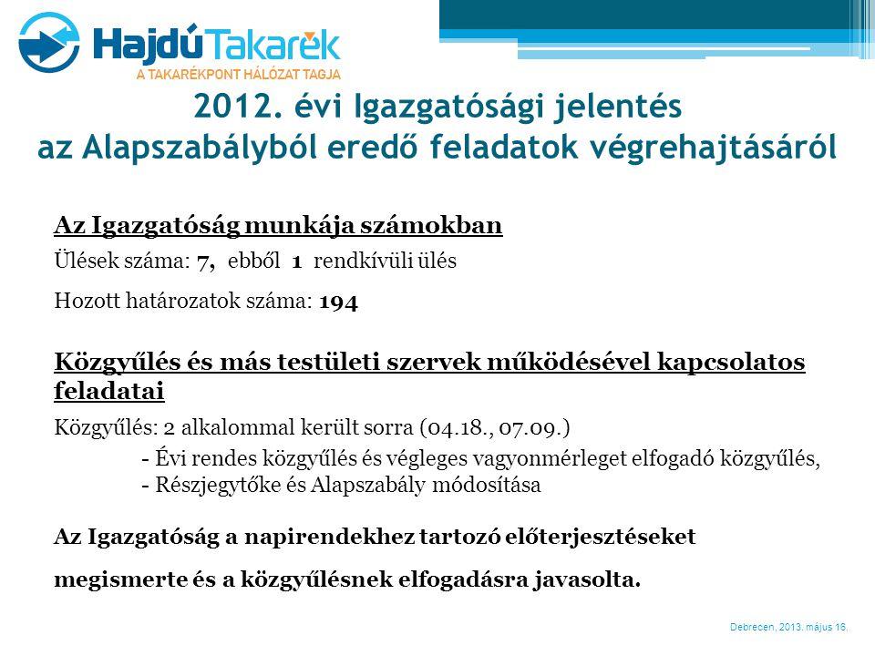 Debrecen, 2013. május 16. 2012. évi Igazgatósági jelentés az Alapszabályból eredő feladatok végrehajtásáról Az Igazgatóság munkája számokban Ülések sz