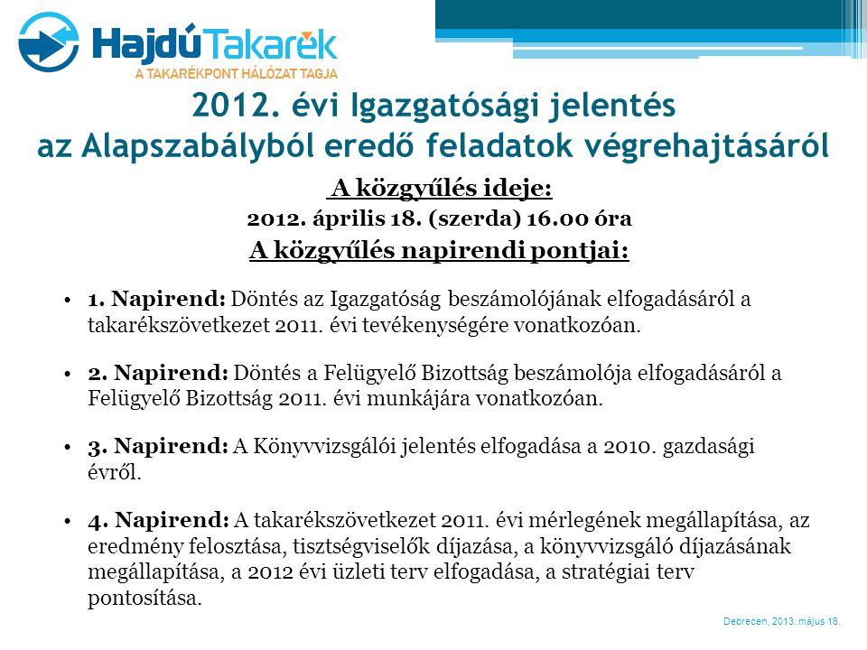 Debrecen, 2013. május 16. A közgyűlés ideje: 2012. április 18. (szerda) 16.00 óra A közgyűlés napirendi pontjai: •1. Napirend: Döntés az Igazgatóság b