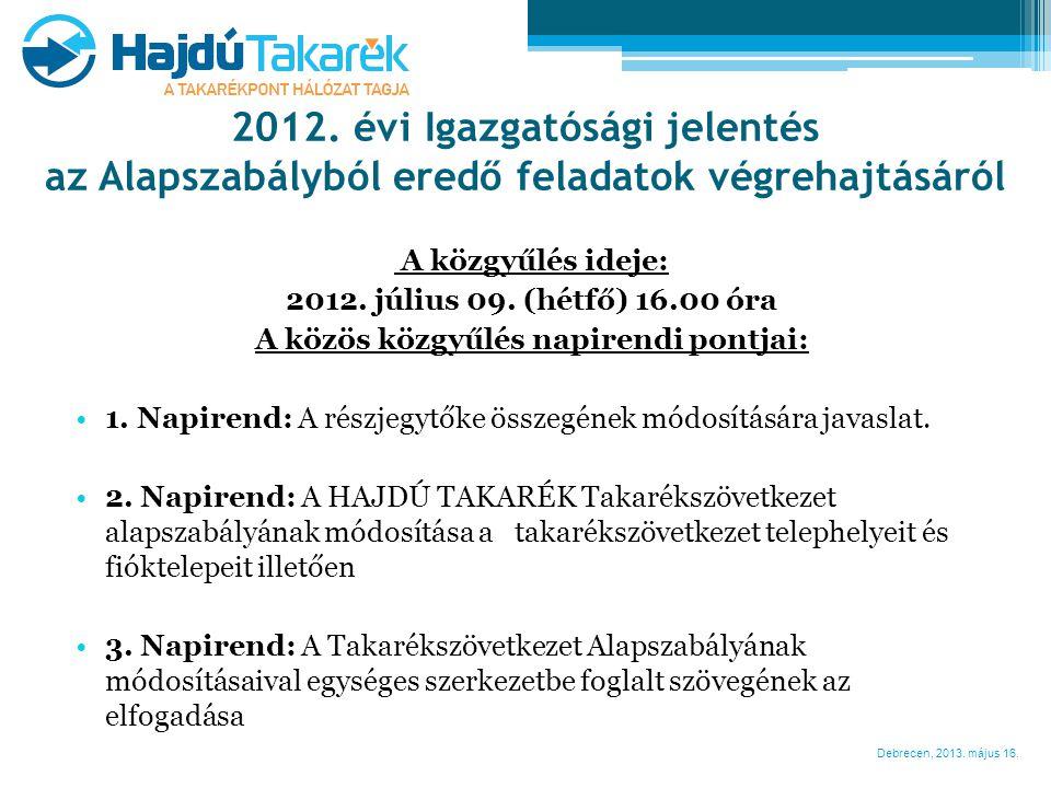 Debrecen, 2013. május 16. A közgyűlés ideje: 2012. július 09. (hétfő) 16.00 óra A közös közgyűlés napirendi pontjai: •1. Napirend: A részjegytőke össz