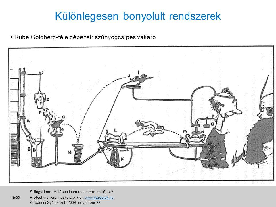 Különlegesen bonyolult rendszerek • Rube Goldberg-féle gépezet: szúnyogcsípés vakaró Szilágyi Imre: Valóban Isten teremtette a világot? Protestáns Ter