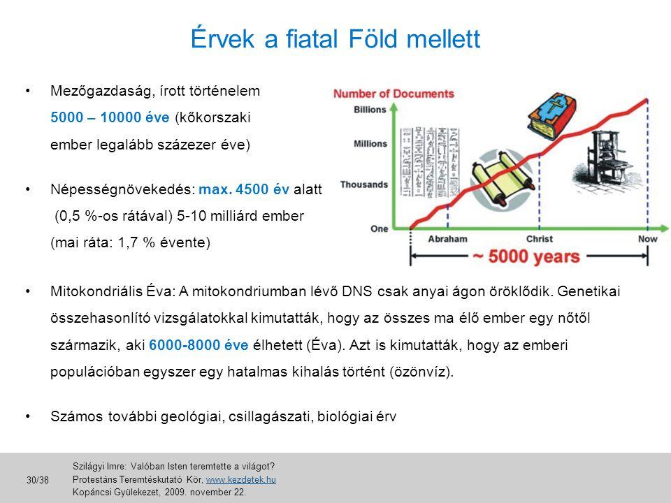 Érvek a fiatal Föld mellett •Mezőgazdaság, írott történelem 5000 – 10000 éve (kőkorszaki ember legalább százezer éve) •Népességnövekedés: max. 4500 év