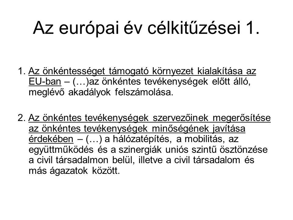 Az európai év célkitűzései 1. 1. Az önkéntességet támogató környezet kialakítása az EU-ban – (…)az önkéntes tevékenységek előtt álló, meglévő akadályo