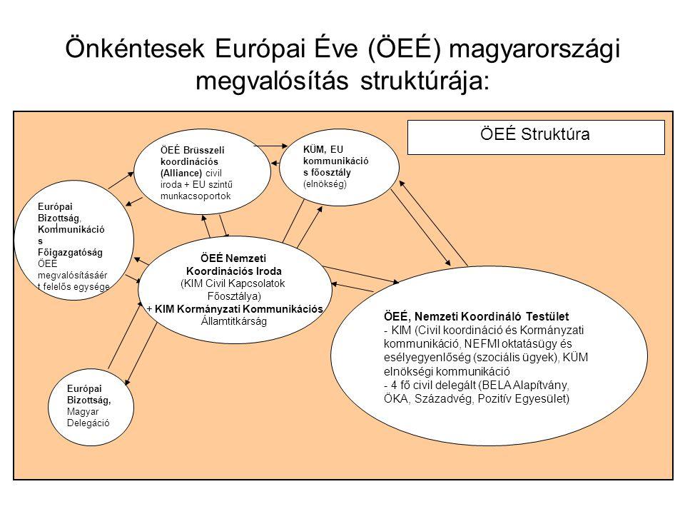 """Önkéntesek Európai Éve (ÖEÉ) magyarországi megvalósítás struktúrája: Önéntesek Európai Éve Nemzeti Koordinációs """"iroda"""" (KIM, Civil Kapcsolatok Főoszt"""