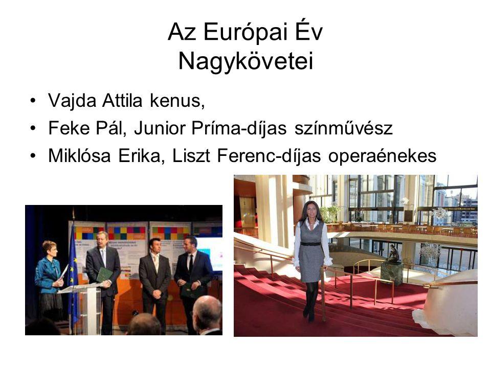 Az Európai Év Nagykövetei •Vajda Attila kenus, •Feke Pál, Junior Príma-díjas színművész •Miklósa Erika, Liszt Ferenc-díjas operaénekes