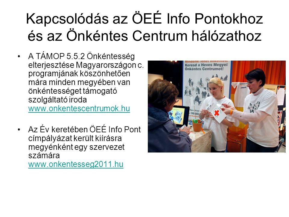 Kapcsolódás az ÖEÉ Info Pontokhoz és az Önkéntes Centrum hálózathoz •A TÁMOP 5.5.2 Önkéntesség elterjesztése Magyarországon c. programjának köszönhető