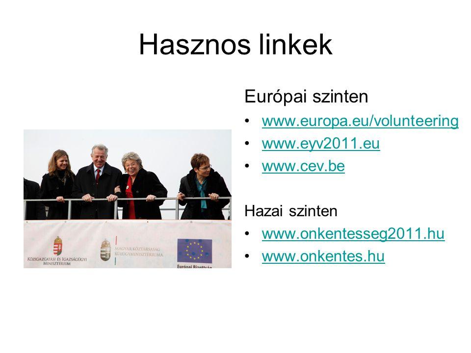 Hasznos linkek Európai szinten •www.europa.eu/volunteeringwww.europa.eu/volunteering •www.eyv2011.euwww.eyv2011.eu •www.cev.bewww.cev.be Hazai szinten