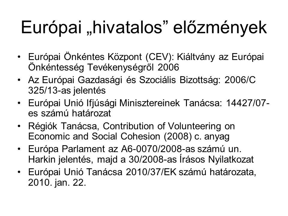 """Európai """"hivatalos"""" előzmények •Európai Önkéntes Központ (CEV): Kiáltvány az Európai Önkéntesség Tevékenységről 2006 •Az Európai Gazdasági és Szociáli"""