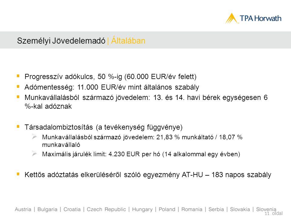 Személyi Jövedelemadó | Általában  Progresszív adókulcs, 50 %-ig (60.000 EUR/év felett)  Adómentesség: 11.000 EUR/év mint általános szabály  Munkav