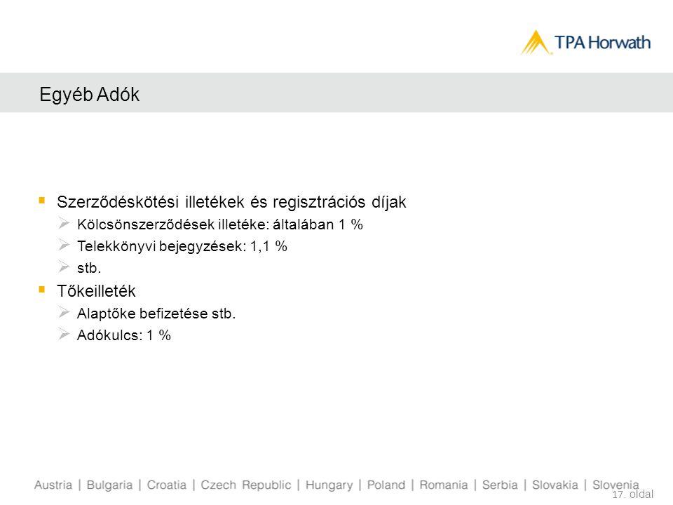 Egyéb Adók  Szerződéskötési illetékek és regisztrációs díjak  Kölcsönszerződések illetéke: általában 1 %  Telekkönyvi bejegyzések: 1,1 %  stb.  T