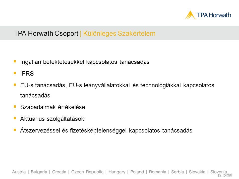 19. oldal TPA Horwath Csoport | Különleges Szakértelem  Ingatlan befektetésekkel kapcsolatos tanácsadás  IFRS  EU-s tanácsadás, EU-s leányvállalato
