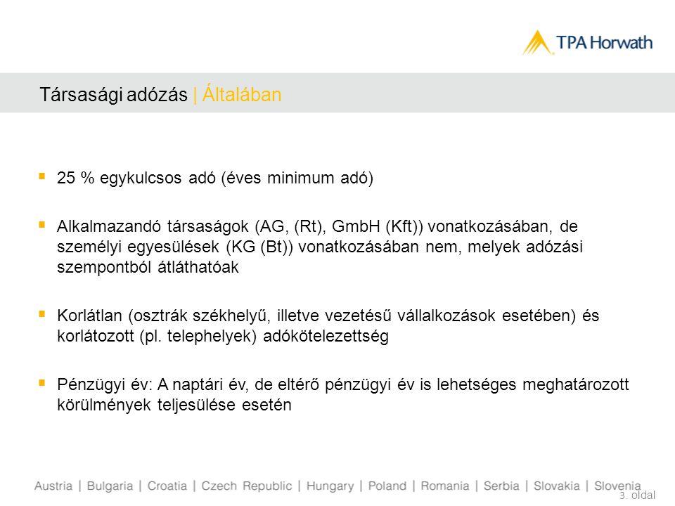 Társasági adózás | Általában  25 % egykulcsos adó (éves minimum adó)  Alkalmazandó társaságok (AG, (Rt), GmbH (Kft)) vonatkozásában, de személyi egyesülések (KG (Bt)) vonatkozásában nem, melyek adózási szempontból átláthatóak  Korlátlan (osztrák székhelyű, illetve vezetésű vállalkozások esetében) és korlátozott (pl.
