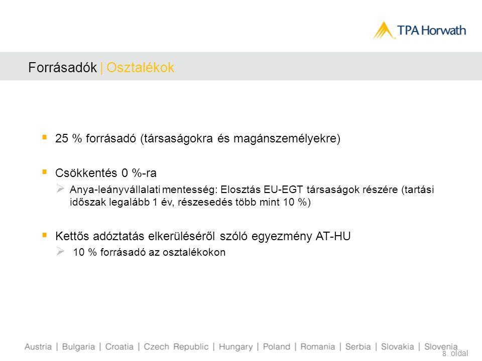 Forrásadók   Kamat és Jogdíjak  Kamat: külföldi személyek forrásadó mentessége (a külföldi illetőséget igazolni kell)  Jogdíjak: 20 %  Csökkentés 0 %-ra  EU irányelv az EU/EGT tagállambeli társult vállalkozások közötti kamat- és jogdíjfizetések adózásáról  Kettős adóztatás elkerüléséről szóló egyezmény AT-HU  Csökkentés 0%-ra 9.
