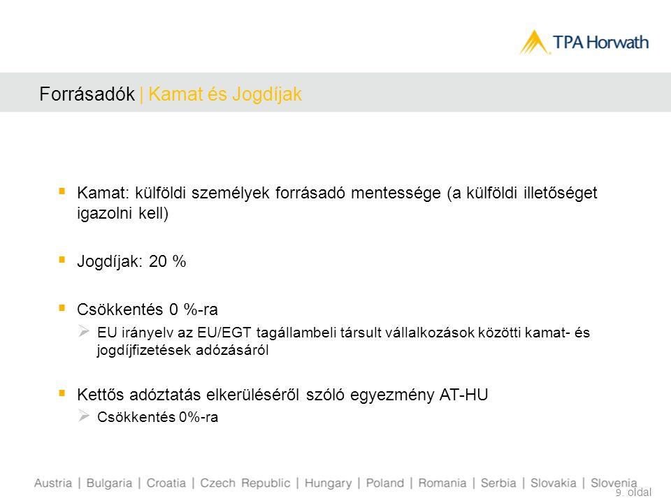 Forrásadók | Kamat és Jogdíjak  Kamat: külföldi személyek forrásadó mentessége (a külföldi illetőséget igazolni kell)  Jogdíjak: 20 %  Csökkentés 0 %-ra  EU irányelv az EU/EGT tagállambeli társult vállalkozások közötti kamat- és jogdíjfizetések adózásáról  Kettős adóztatás elkerüléséről szóló egyezmény AT-HU  Csökkentés 0%-ra 9.