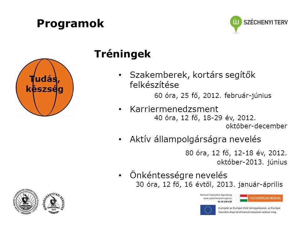 Programok Tudás, készség Tréningek • Szakemberek, kortárs segítők felkészítése 60 óra, 25 fő, 2012.