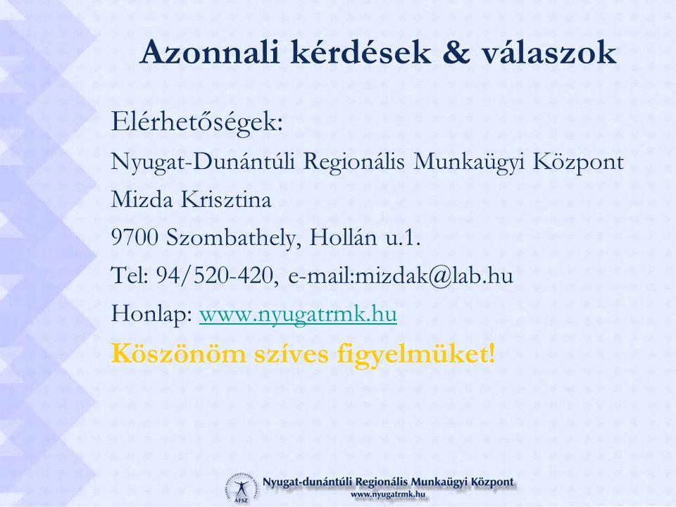Azonnali kérdések & válaszok Elérhetőségek: Nyugat-Dunántúli Regionális Munkaügyi Központ Mizda Krisztina 9700 Szombathely, Hollán u.1. Tel: 94/520-42