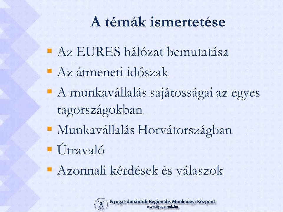 A témák ismertetése  Az EURES hálózat bemutatása  Az átmeneti időszak  A munkavállalás sajátosságai az egyes tagországokban  Munkavállalás Horváto