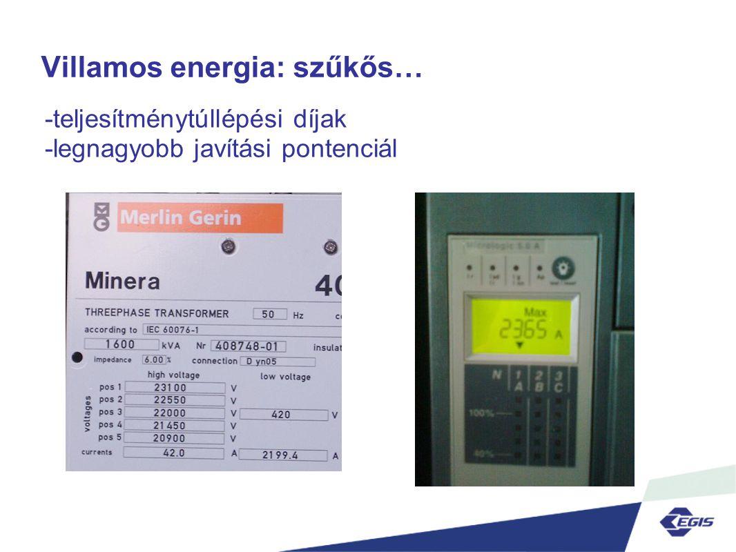 Villamos energia: szűkős… -teljesítménytúllépési díjak -legnagyobb javítási pontenciál