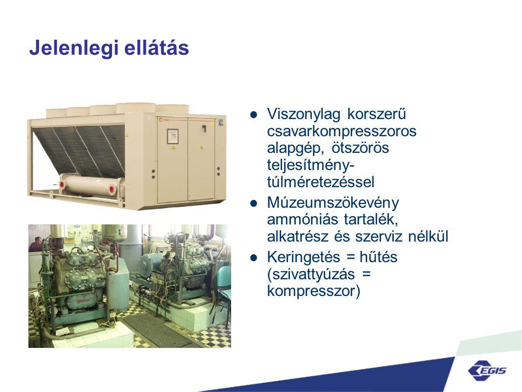 Jelenlegi ellátás  Viszonylag korszerű csavarkompresszoros alapgép, ötszörös teljesítmény- túlméretezéssel  Múzeumszökevény ammóniás tartalék, alkatrész és szerviz nélkül  Keringetés = hűtés (szivattyúzás = kompresszor)