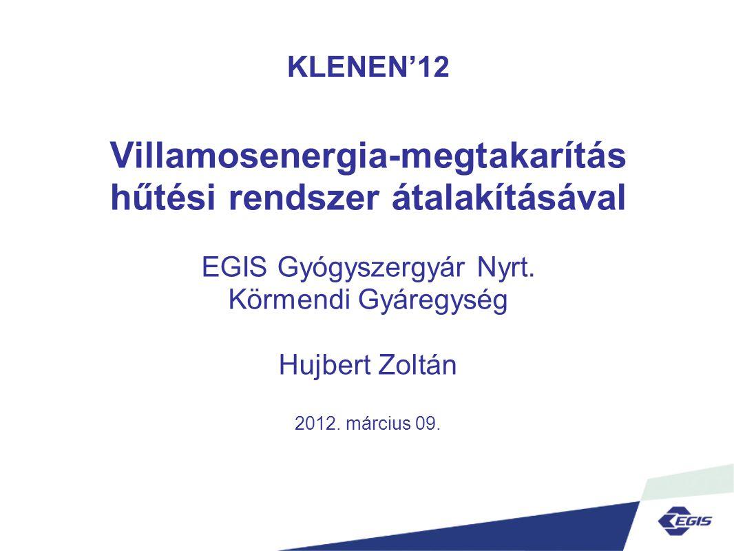 KLENEN'12 Villamosenergia-megtakarítás hűtési rendszer átalakításával EGIS Gyógyszergyár Nyrt.