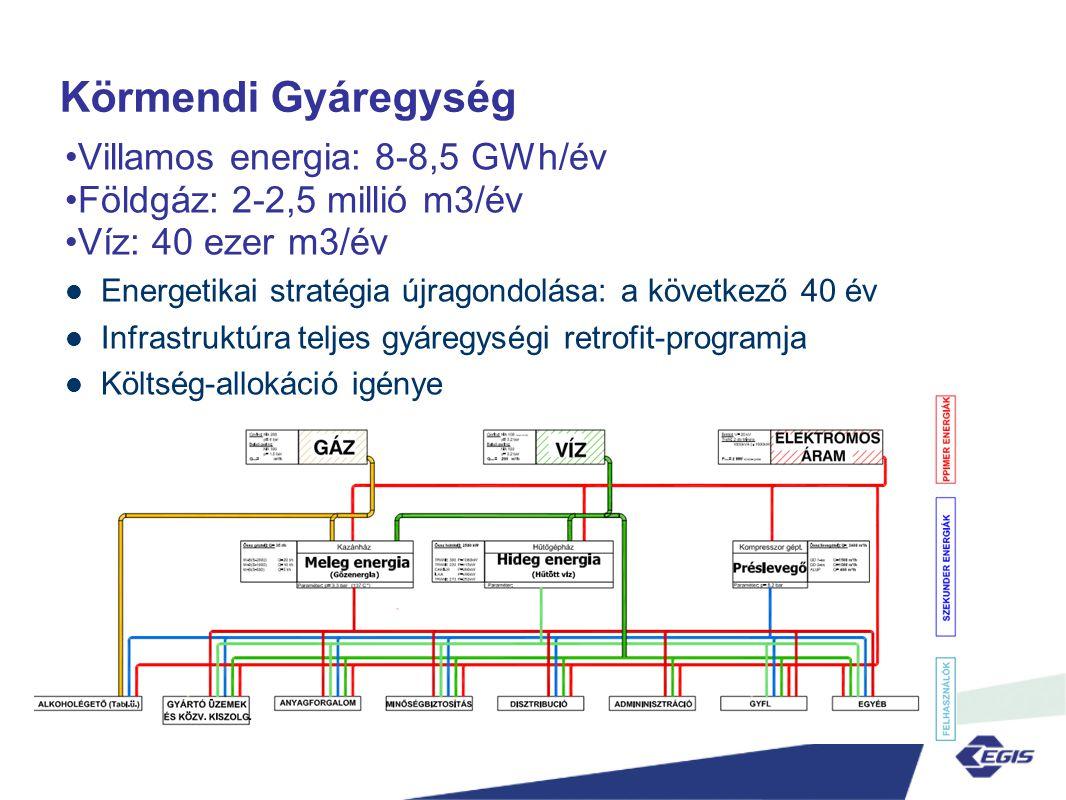 Prioritási sorrend •Mérés: tervezési adatok, költségallokáció •Villamos energia: folyadékhűtők, kompresszorok •Központi hőellátás gőzhálózatról •Szennyvízkezelés