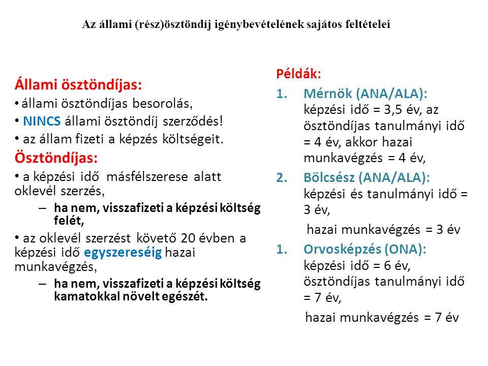 Példák: 1.Mérnök (ANA/ALA): képzési idő = 3,5 év, az ösztöndíjas tanulmányi idő = 4 év, akkor hazai munkavégzés = 4 év, 2.Bölcsész (ANA/ALA): képzési