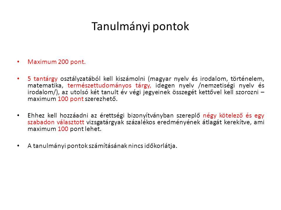 Tanulmányi pontok • Maximum 200 pont. • 5 tantárgy osztályzatából kell kiszámolni (magyar nyelv és irodalom, történelem, matematika, természettudomány