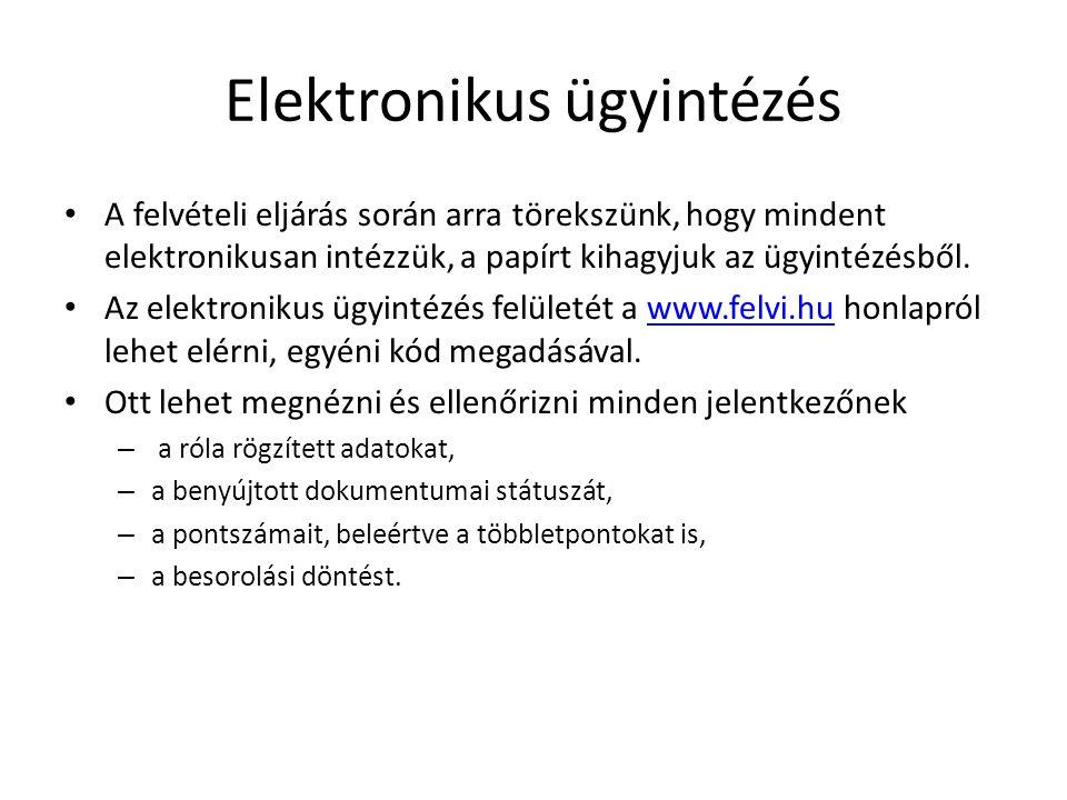 Elektronikus ügyintézés • A felvételi eljárás során arra törekszünk, hogy mindent elektronikusan intézzük, a papírt kihagyjuk az ügyintézésből.
