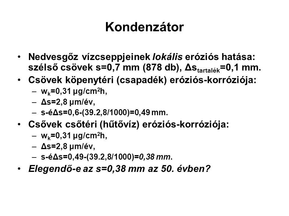 Kondenzátor •Nedvesgőz vízcseppjeinek lokális eróziós hatása: szélső csövek s=0,7 mm (878 db), Δs tartalék =0,1 mm.
