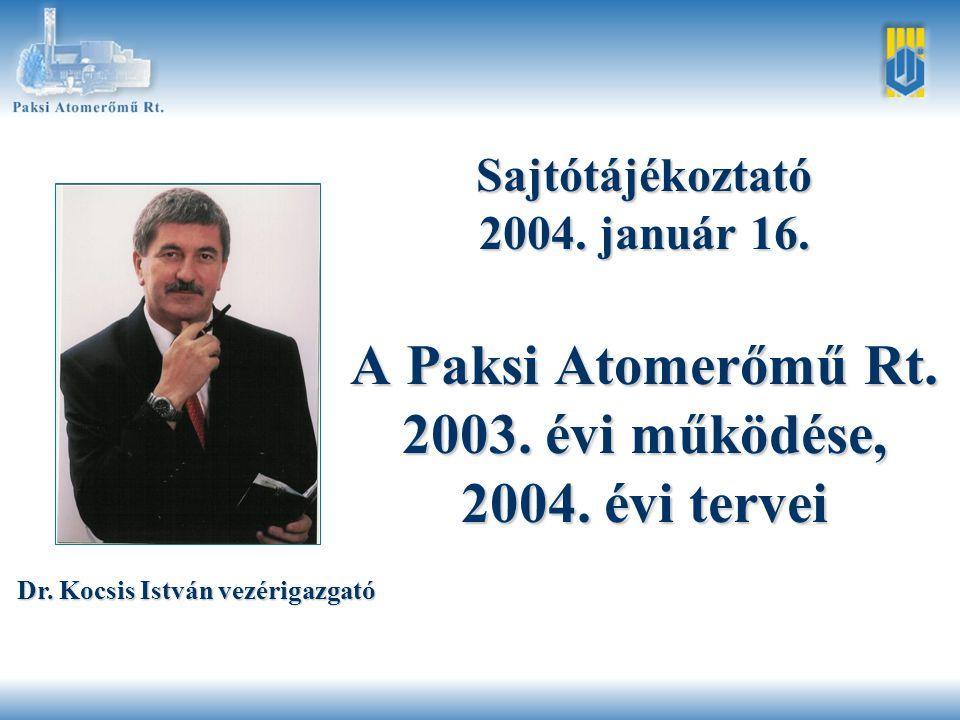 Témakörök •A 2003.év jelentősebb gazdasági-termelési adatai •A 2003.