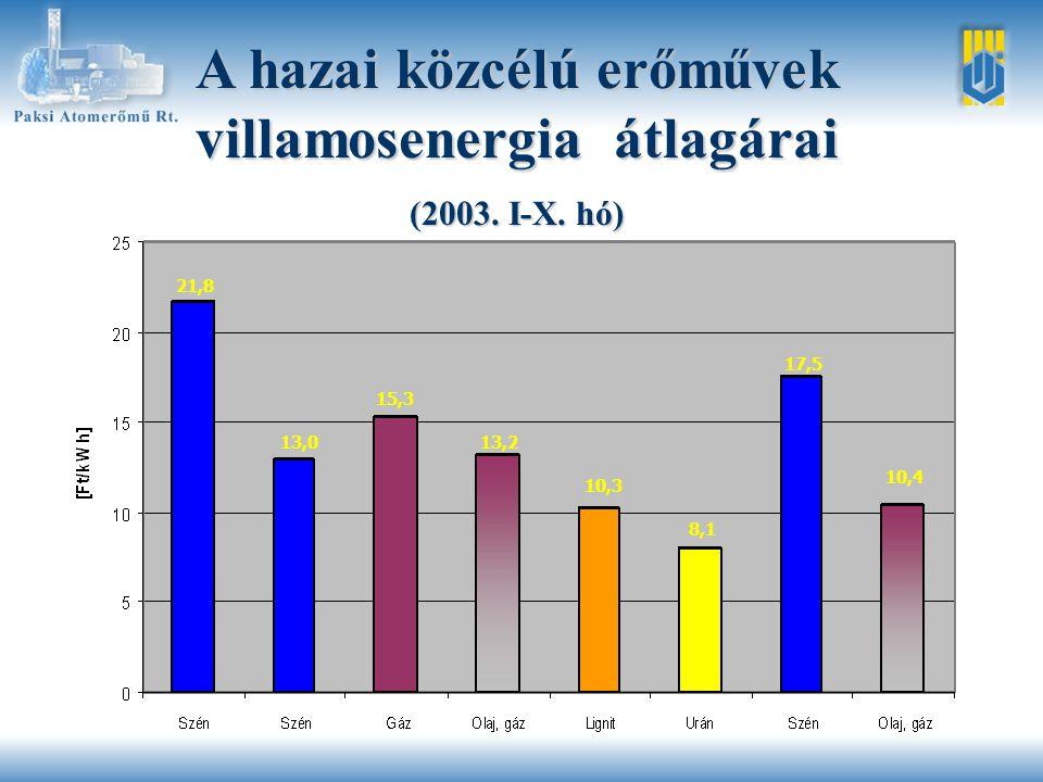 A hazai közcélú erőművek villamosenergia átlagárai (2003.
