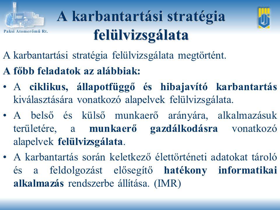 A karbantartási stratégia felülvizsgálata A karbantartási stratégia felülvizsgálata megtörtént.